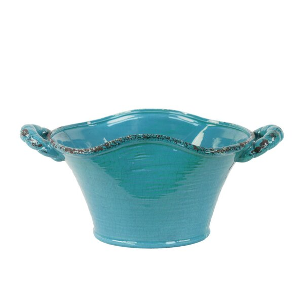Carlisle Stadium Shaped Tuscan Pot Planter with Handles by August Grove