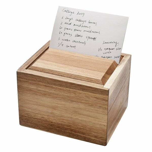 Acacia Wood Recipe Box with Card Divider by Welland LLC