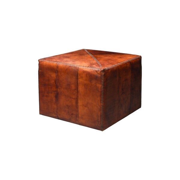Rosner Large Leather Cube Ottoman by Loon Peak