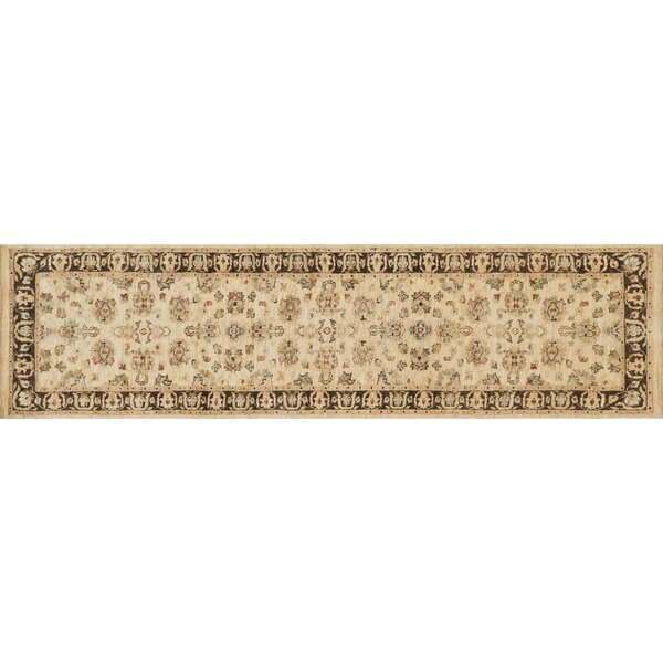 Durden Oriental Hand-Knotted Wool Ivory/Mocha Area Rug