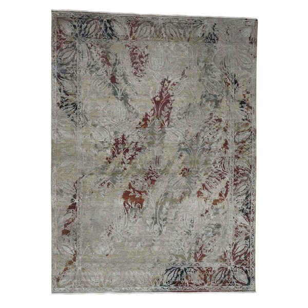 One-of-a-Kind Gordonsville Oxidized Broken Tulip Hand-Knotted Silk Brown Area Rug by World Menagerie