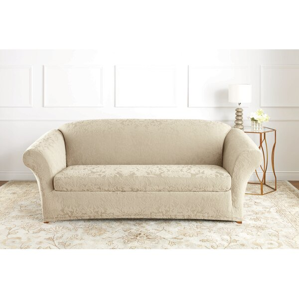 Stretch Jacquard Damask Box Cushion Sofa Slipcover By Sure Fit