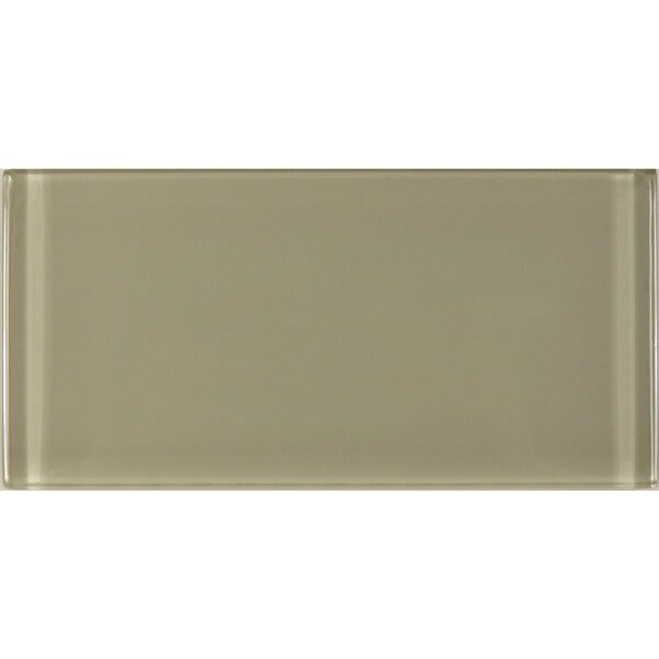 Metro 3 x 6 Glass Subway Tile in Taupe by Abolos