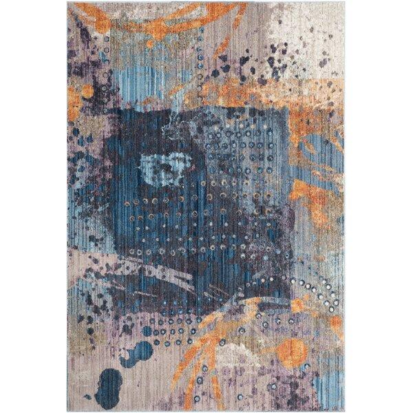 Cumbernauld Blue/Orange Area Rug by Wrought Studio