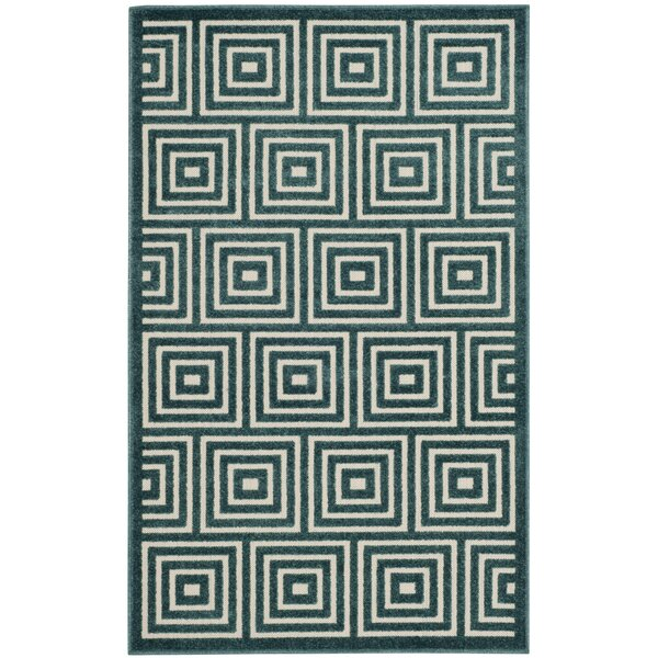 Candor Blue Geometric Outdoor Area Rug by George Oliver