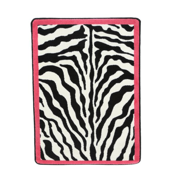 Zebra Glam Pink Passion Black/White Area Rug by Milliken