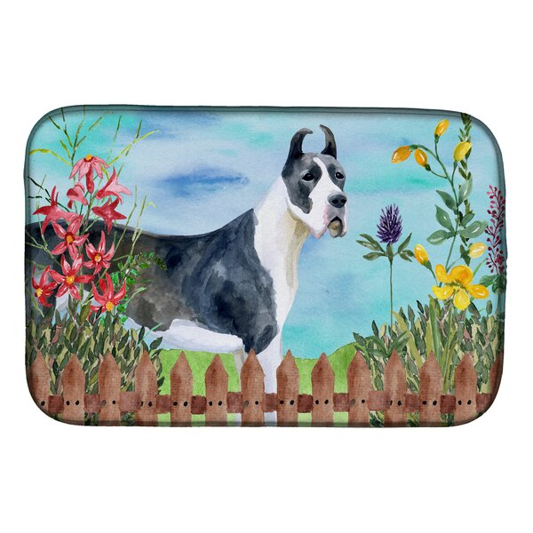 Harlequin Great Dane Spring Dish Drying Mat by Caroline's Treasures