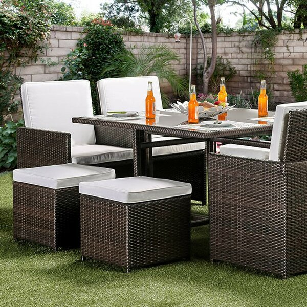 Giles 9 Piece Rattan Dining Set with Cushions by Latitude Run