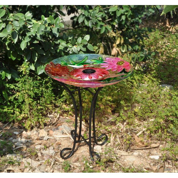 Floral Glass Hummingbird Solar Birdbath with Stand by Hi-Line Gift Ltd.