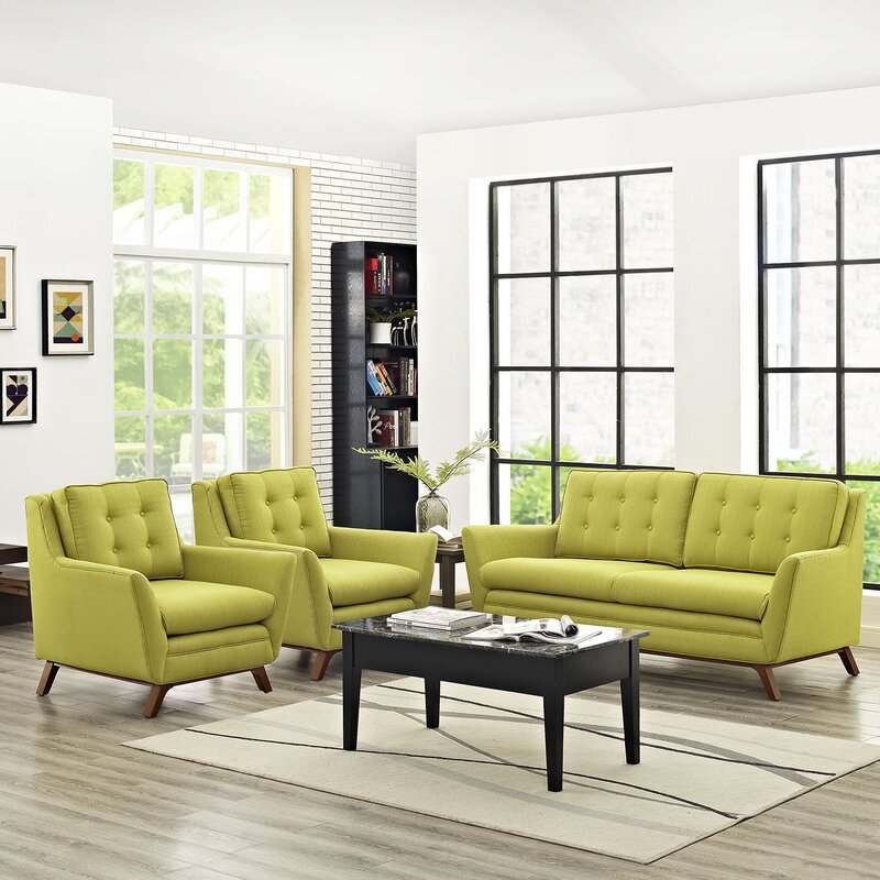 Modway beguile 3 piece living room set reviews wayfair for Living room 5 piece sets
