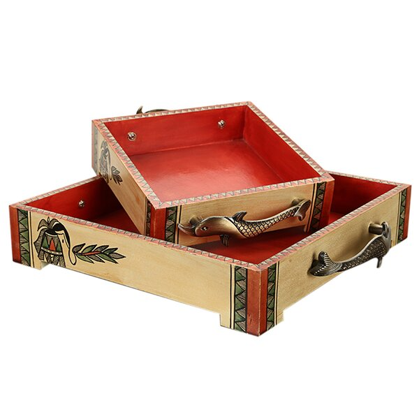 Mclennan Madhubani Handpainted Wooden 2 Piece Serving Tray Set by Bloomsbury Market