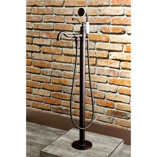 Check Prices English Country Single Handle Floor Mount Roman Freestanding Tub Filler with Hand Shower ByKingston Brass