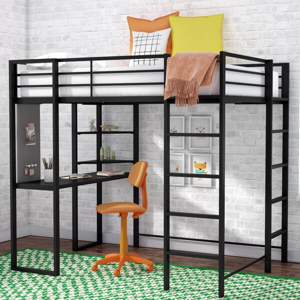 Aime Twin Loft Bed with Bookcase by Mack & Milo