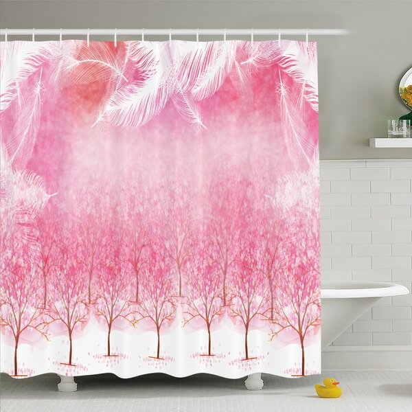 Hazy Japanese Cherry Blossom Trees Shower Curtain Set by East Urban Home