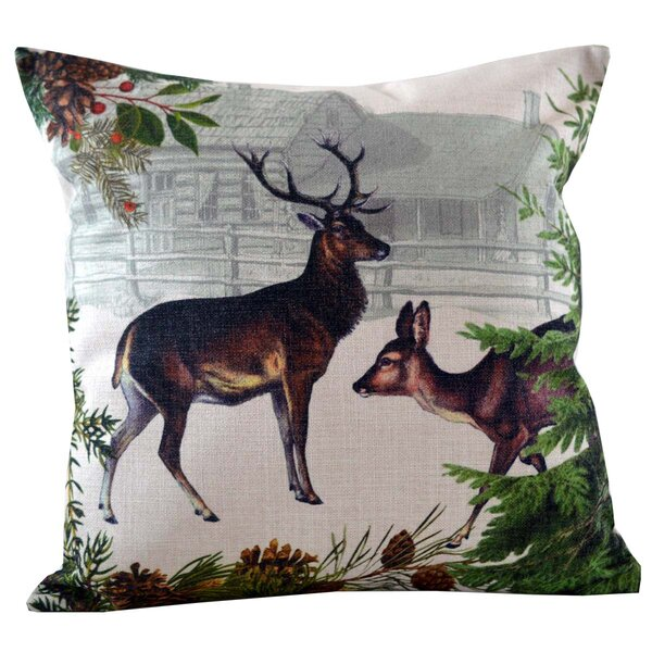 Deer and Doe Throw Pillow Cover by Golden Hill Studio