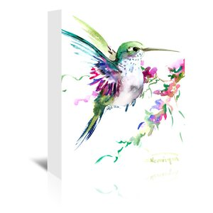Hummingbird Painting Print on Wrapped Canvas by East Urban Home