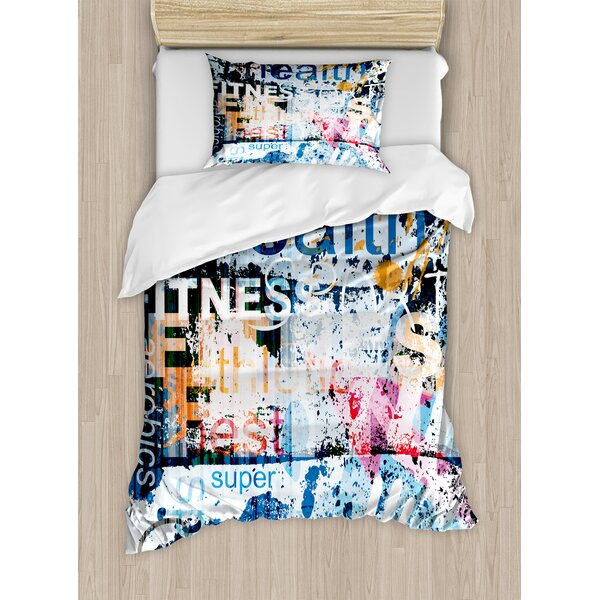 Health Wellness Aerobics Sports Words on Grunge Vintage Style Backdrop Duvet Set by East Urban Home