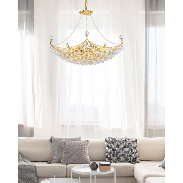 Lebron 8 - Light Unique / Statement Empire Chandelier with Crystal Accents by Willa Arlo Interiors Willa Arlo Interiors