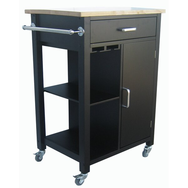 Carlie Kitchen Cart with Solid Wood Top by Ebern Designs