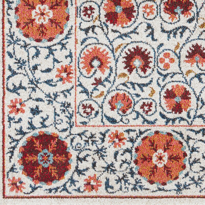 Bungalow rose camp ellis floral beige bright red area rug for Bright floral area rugs