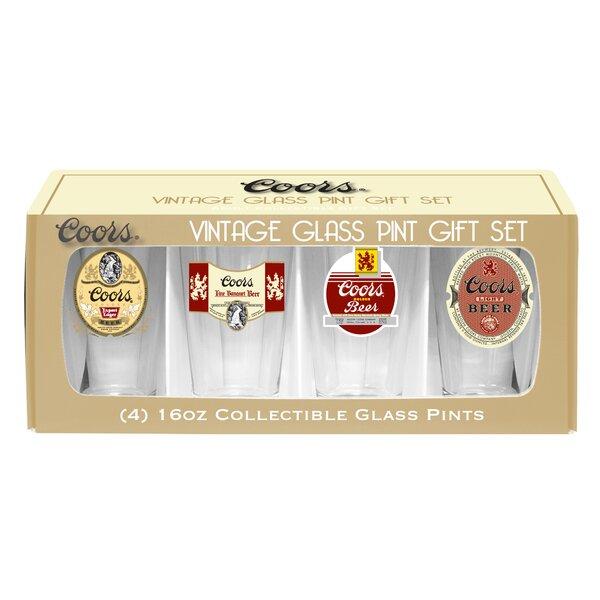 Coors Retro 4 Piece 16 Oz. Glass Pint Glasses Set by Boelter Brands