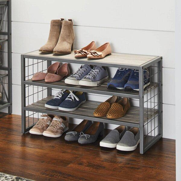 Decorative 16 Pair Stackable Shoe Rack