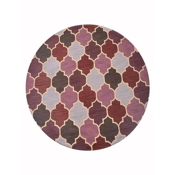 Campas Geometric Hand-Tufted Wool Pink/Brown Area Rug by Red Barrel Studio