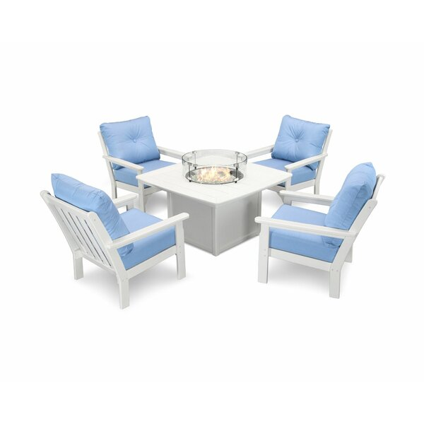 Vineyard 5 Piece Sunbrella Multiple Chairs Seating Group by POLYWOOD®