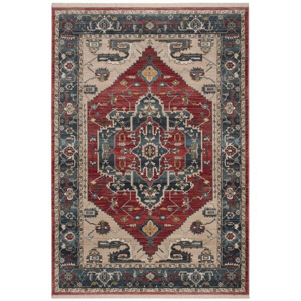Powe Vintage Persian Cotton Red/Blue Area Rug by World Menagerie