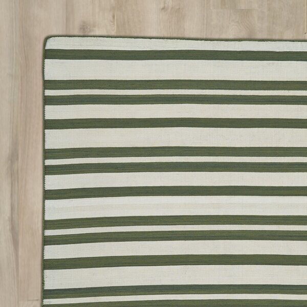 New Portland Hand-Loomed Olive Indoor/Outdoor Area Rug by Breakwater Bay