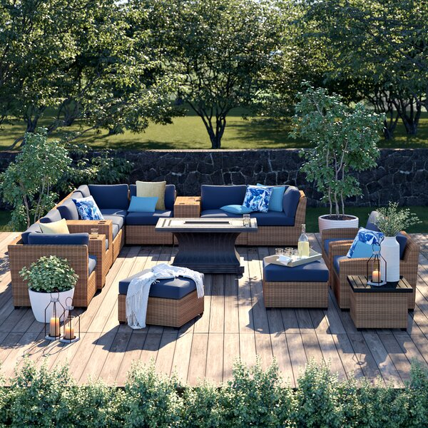 Waterbury 17 Piece Sectional Seating Group with Cushions by Sol 72 Outdoor Sol 72 Outdoor