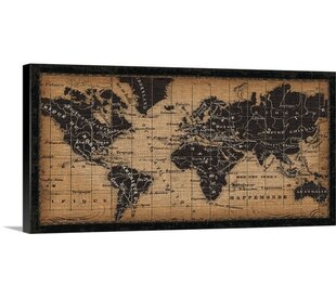 old world map graphic art print