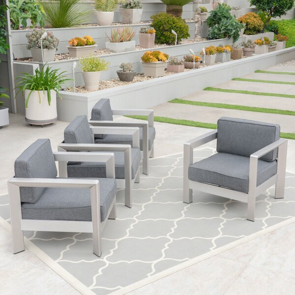 Mcnemar Patio Chair with Cushions (Set of 4) by Orren Ellis