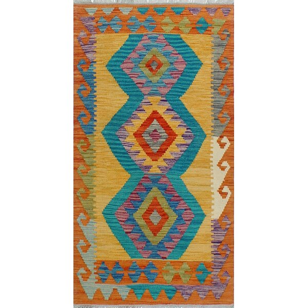 Corda Hand-Knotted Wool Blue/Yellow Area Rug by Bungalow Rose