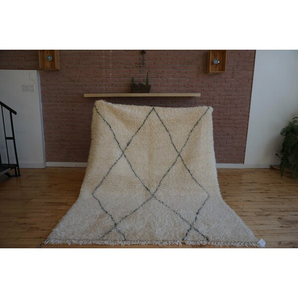 One-of-a-kind Sheli Beni Ourain Hand-Woven Wool Beige/Black Area Rug by Foundry Select