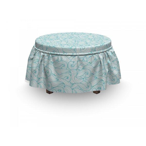 Ocean Waves Summer 2 Piece Box Cushion Ottoman Slipcover Set By East Urban Home