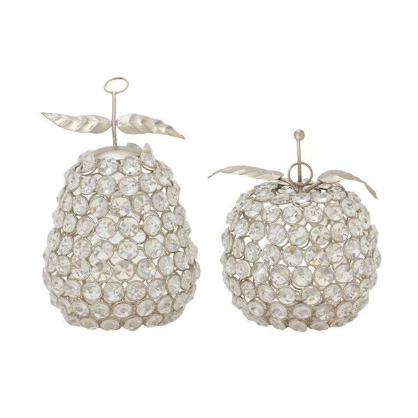 2 Piece Metal Acrylic Apple Pear Sculpture Set by Cole & Grey