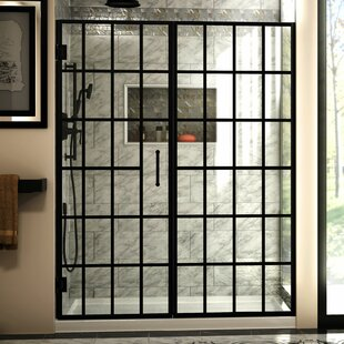 Compare Unidoor Toulon 58.5 x 72 Pivot Frameless Shower Door with Clearmax™ Technology ByDreamLine