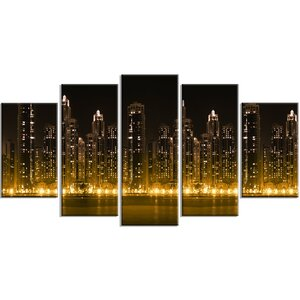 'Modern City with Illuminated Skyscrapers' 5 Piece Wall Art on Wrapped Canvas Set by Design Art