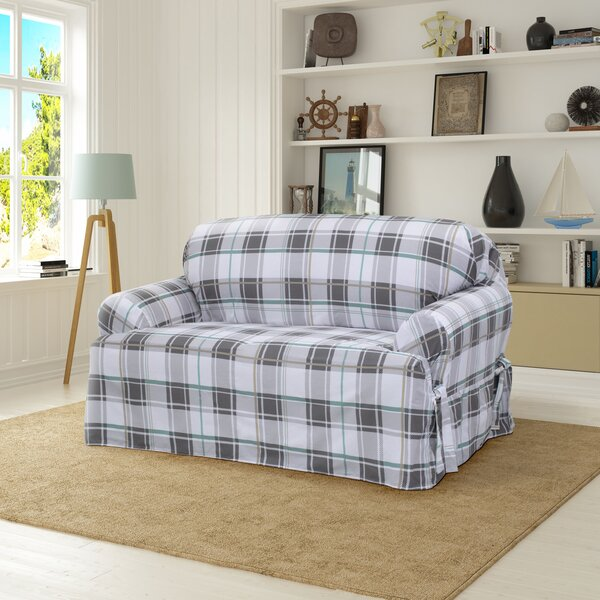 Review Cotton Duck T-Cushion Loveseat Slipcover