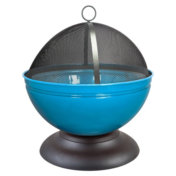 La Hacienda Globe Enameled Steel Wood Fire Pit by World Source Partners