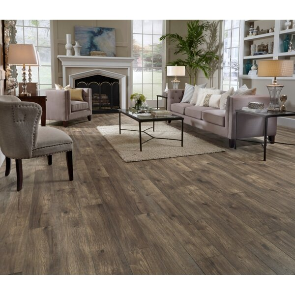 Restoration Wide Plank 8'' x 51'' x 12mm Hickory Laminate Flooring in Stone by Mannington