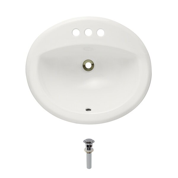 Vitreous China Oval Drop-In Bathroom Sink with Overflow with Drain Assembly by MR Direct
