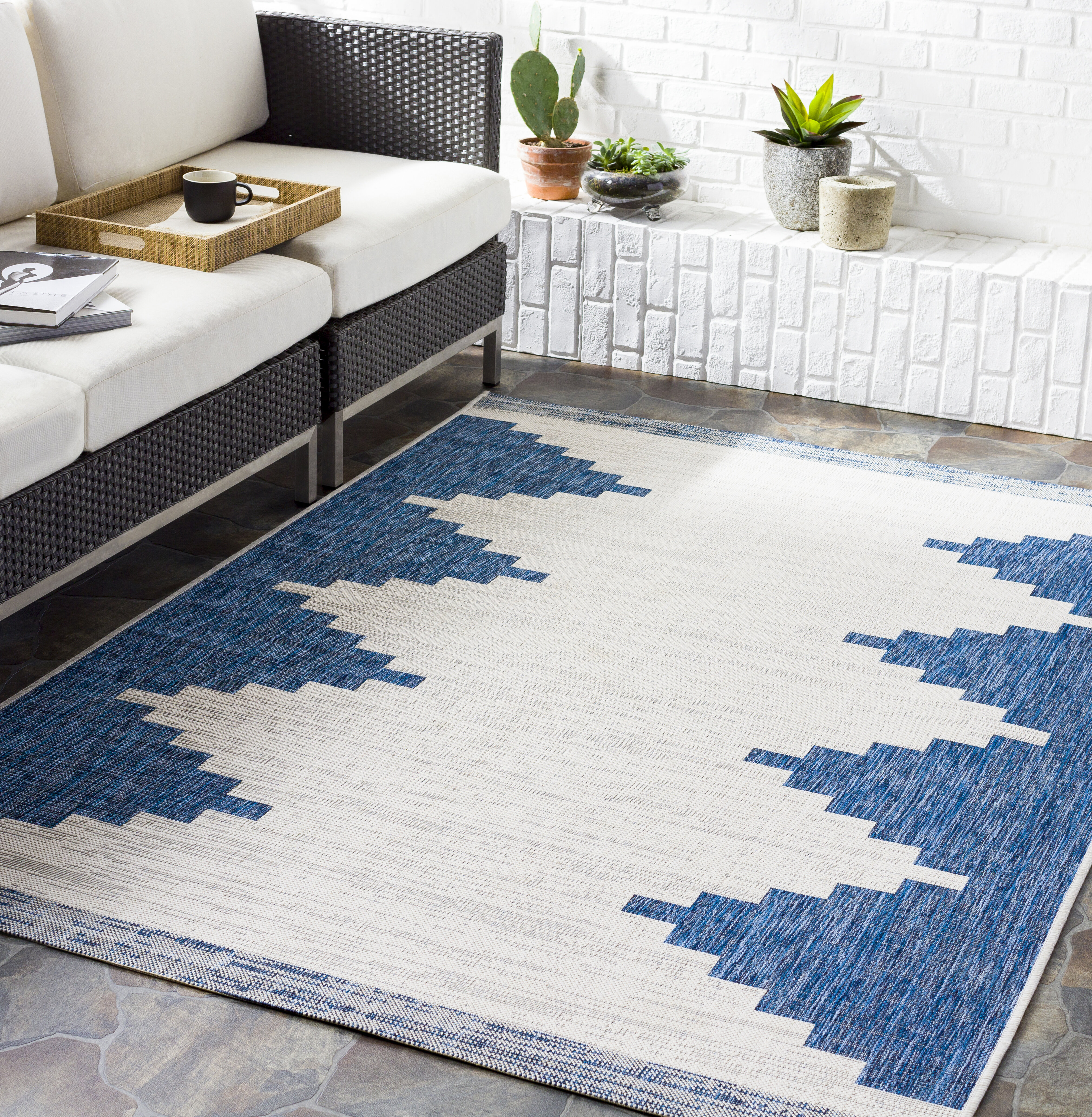Foundry Select Kailyn Southwestern Bright Blue Beige Indoor Outdoor Area Rug Reviews Wayfair