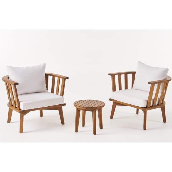 Spratt Outdoor 3 Piece Seating Group with Cushions by Highland Dunes