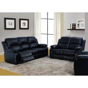 Black Leather Living Room Sets You\'ll Love | Wayfair