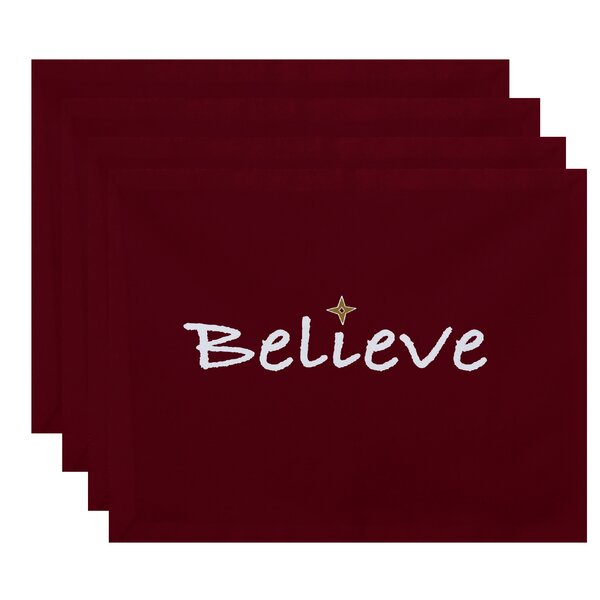 Believe Print Placemat (Set of 4) by The Holiday Aisle