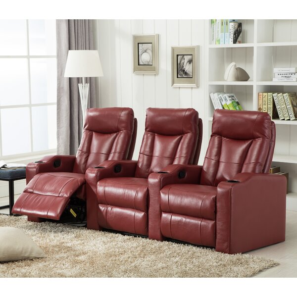 Gel Reclining Leather Home Theater Sofa By Winston Porter