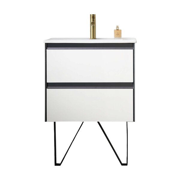 24'' Wall Mounted Single Bathroom Vanity Base Only in Glossy White