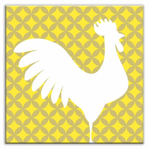 Folksy Love 4-1/4 x 4-1/4 Glossy Decorative Tile in Doodle-Do Yellow Right by Oscar & Izzy